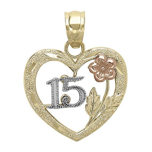 "Tesoro™ 14K Tri-Color Diamond-Cut ""15"" Quinceanera Flower Heart Pendant"