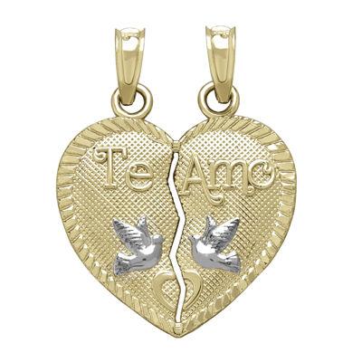 Tesoro™ 14K Two-Tone Gold Te Amo Break-Apart Heart Pendant