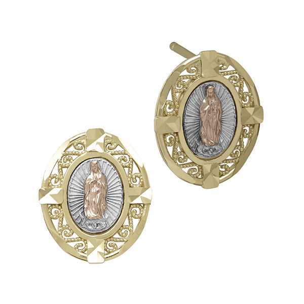 Tesoro™ 14K Tri-Color Gold Our Lady of Guadalupe Stud Earrings