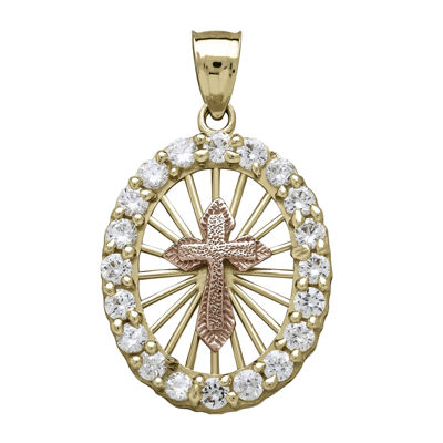 Tesoro™ Cubic Zirconia 14K Two-Tone Gold Cross Pendant