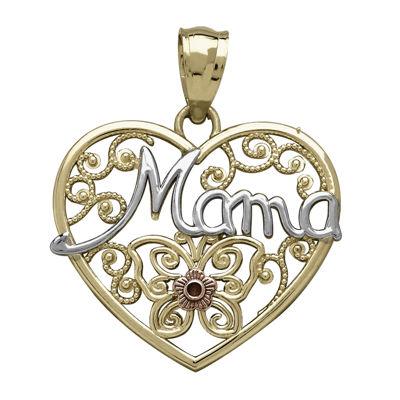 Tesoro™ 14K Tri-Color Gold Mama Filigree Heart Pendant