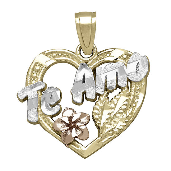 "Tesoro™ 14K Tri-Color ""Te Amo"" Heart with Flower Pendant"