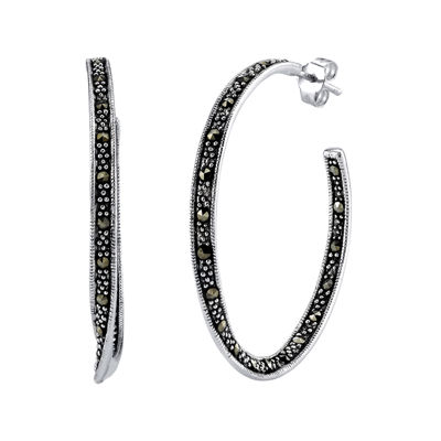 Marcasite and Sterling Silver 22mm Hoop Earrings