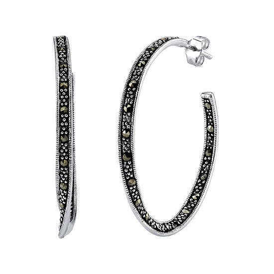 2d86b4d6aae5b Marcasite and Sterling Silver 22mm Hoop Earrings