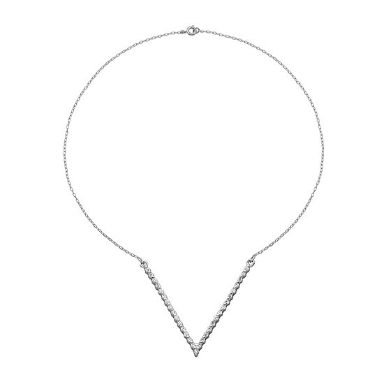 "Cubic Zirconia Sterling Silver ""V"" Necklace"