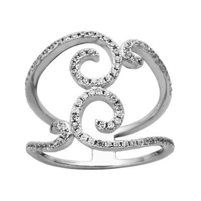 Cubic Zirconia Sterling Silver Multi-Swirl Ring