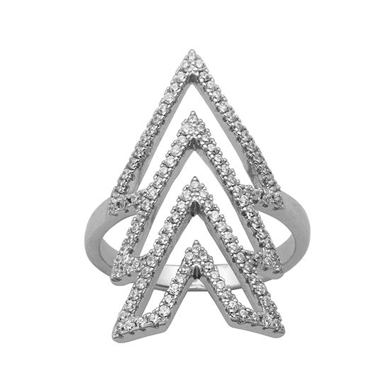 Cubic Zirconia Sterling Silver Triple V Ring
