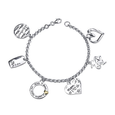 "Inspired Moments™ Sterling Silver ""Mom"" Charm Bracelet"