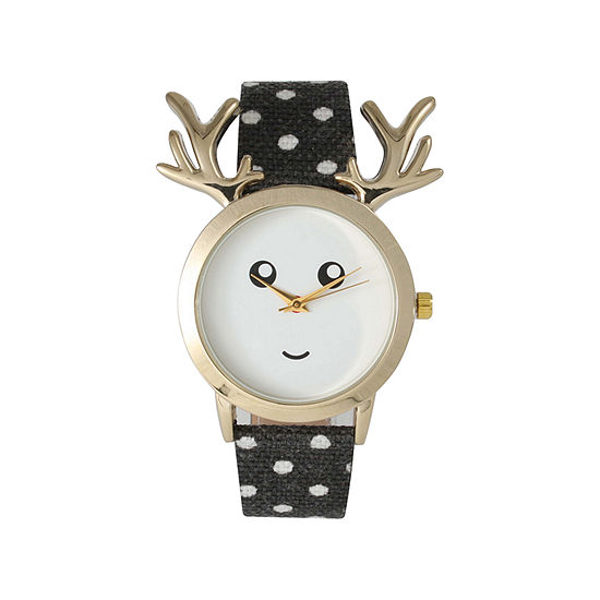 Olivia Pratt Reindeer Womens Black Leather Strap Watch-515108black