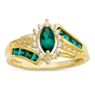Womens Lab-Created Emerald & Lab-Created White Sapphire 14K Gold Over Silver Cocktail Ring