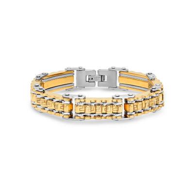 Steeltime Stainless Steel 8 1/2 Inch Solid Link Link Bracelet