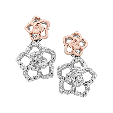 Enchanted Disney Fine Jewelry 1/4 CT. T.W. White Diamond Sterling Silver & 14K Rose Gold over Silver Drop Earrings, One Size