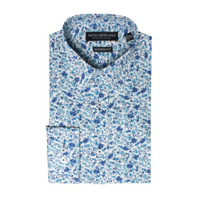 Graham And Co Long Sleeve Woven Floral Dress Shirt - Fitted