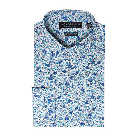 Graham And Co - Fitted Mens Point Collar Long Sleeve Stretch Dress Shirt, 15-15.5 32-33, Blue