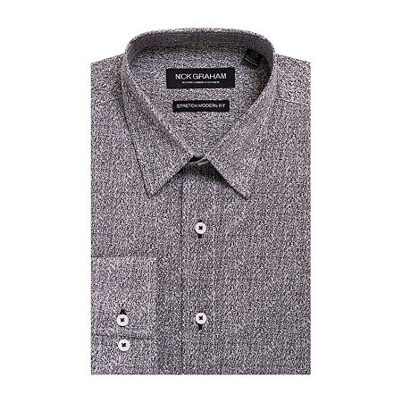 Nick Graham Everything Fitted Long Sleeve Dress Shirt, 15-15.5 32-33, Gray
