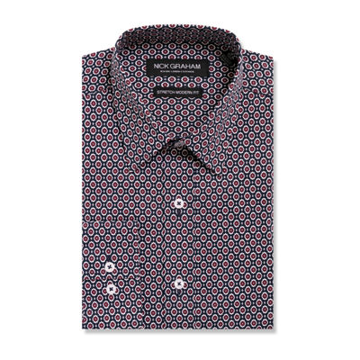 Graham And Co Long Sleeve Woven Pattern Dress Shirt - Fitted