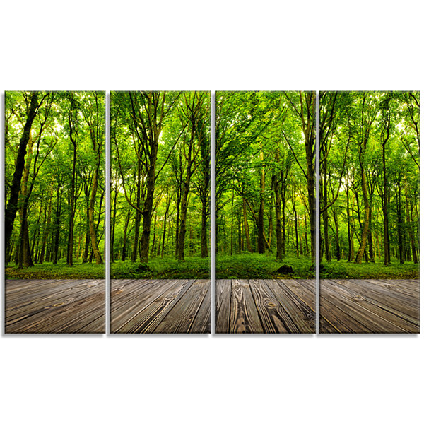 Designart Room Interior in Forest Landscape CanvasArt Print- 4 Panels