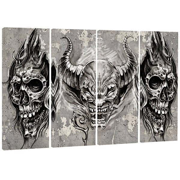 Designart 3 Demons Tattoo Sketch Abstract PortraitCanvas Print - 4 Panels