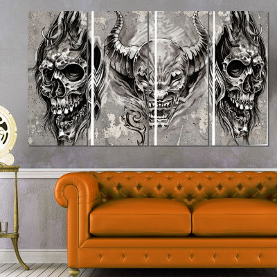 3 Demons Tattoo Sketch Abstract Portrait Canvas Print - 4 Panels