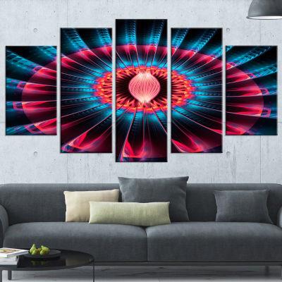 Designart Abstract Colorful Fractal Flower FloralCanvas Art Print - 5 Panels