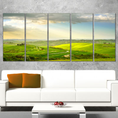 Designart Rural Sunset Landscape Photography Canvas Art Print - 5 Panels