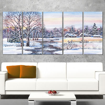 Designart Russian Winter Village Landscape Photography Canvas Print - 4 Panels