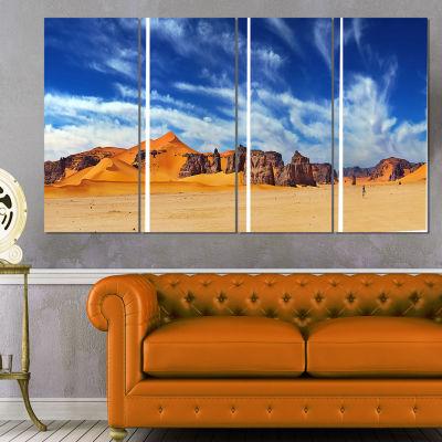 Designart Sahara Desert Panorama Photography Canvas Art Print - 4 Panels