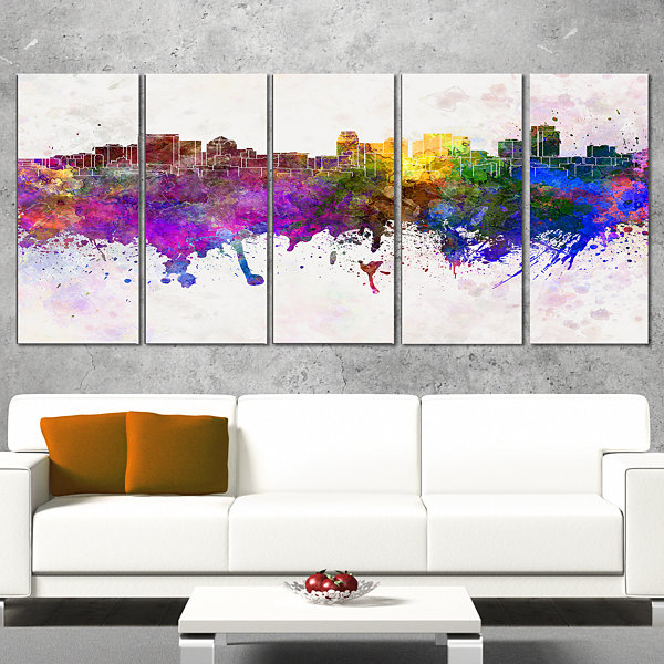 Designart Salt Lake City Skyline Cityscape CanvasArtwork Print - 4 Panels