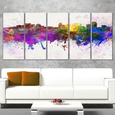 Designart Salt Lake City Skyline Large Cityscape Canvas Artwork Print - 5 Panels