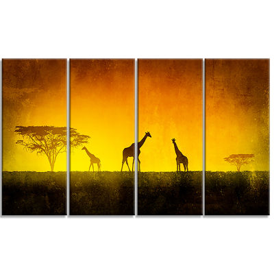 Designart African Sunset Aura Landscape Art PrintCanvas - 4 Panels