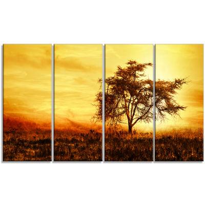 Designart African Tree Silhouette Landscape PhotoCanvas Art Print - 4 Panels