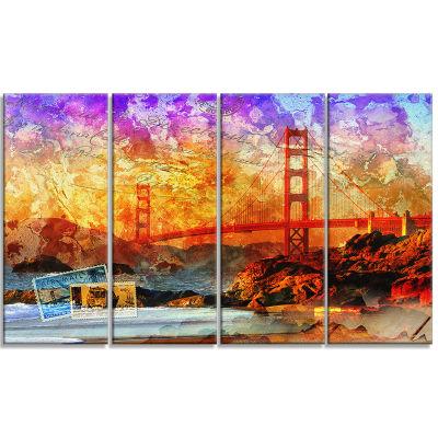 San Francisco Bridge Contemporary Canvas Art Print- 4 Panels