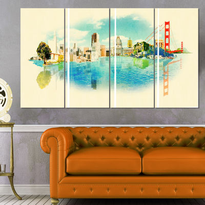 Designart San Francisco Panoramic View Cityscape WatercolorCanvas Print - 4 Panels