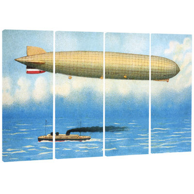 Designart Airship Illustration Abstract Print OnCanvas - 4 Panels