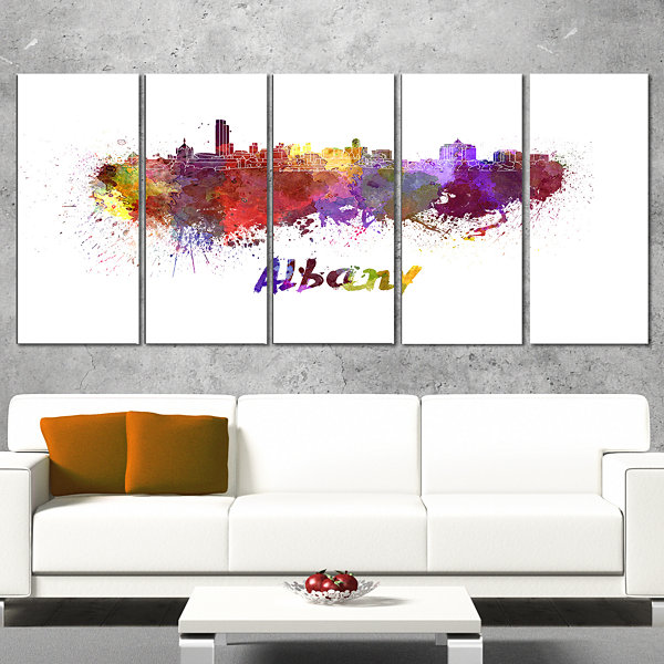 Designart Albany Skyline Cityscape Canvas ArtworkPrint - 5 Panels