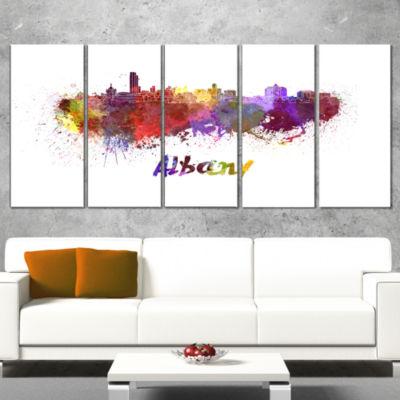 Designart Albany Skyline Purple Cityscape CanvasArtwork Print - 5 Panels