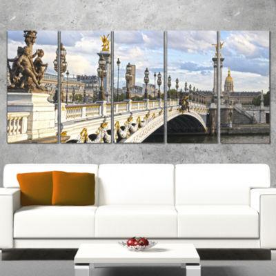 Designart Alexandre Iii Bridge Panoramic View Photography Canvas Art Print - 5 Panels