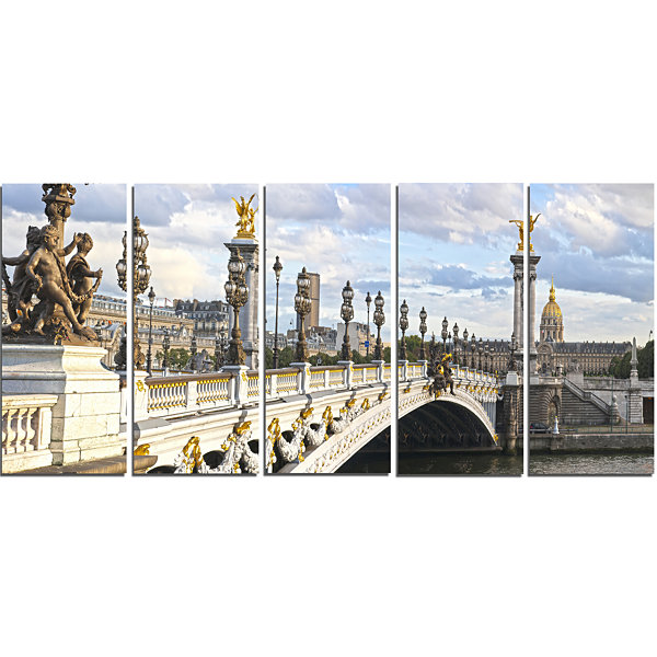Designart Alexandre Iii Bridge Panoramic View Photography Canvas Art Print - 5 Panels
