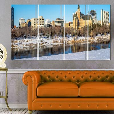 Designart Saskatoon Skyline Landscape Photo CanvasArt Print- 4 Panels