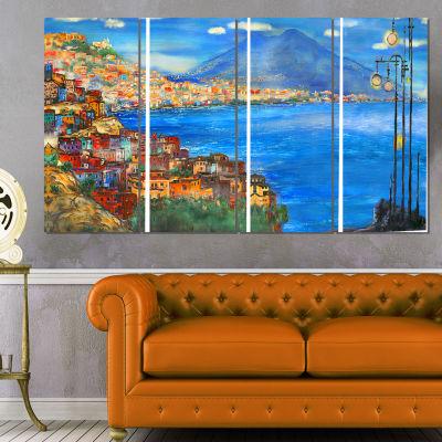 Designart Saturday Night Sea Landscape Painting Canvas Print- 4 Panels