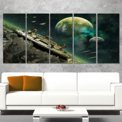 Alien Planet Abstract Canvas Art Print - 5 Panels
