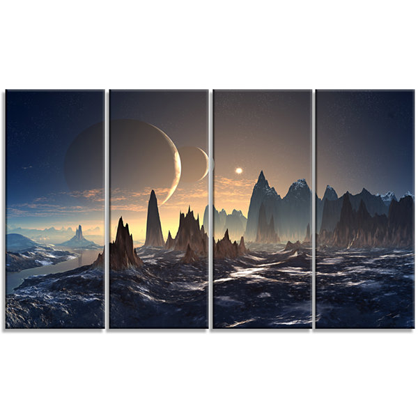 Designart Alien Planet with Mountains ContemporaryCanvas Art Print - 4 Panels