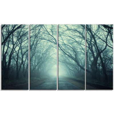 Designart Scary Forest with Green Light LandscapePhotography Canvas Print - 4 Panels