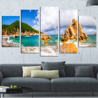 Designart Scenic Costa Paradiso Seashore Photo Canvas Art Print - 5 Panels