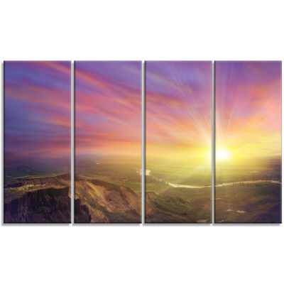 Designart Scintillating Sunset Photography CanvasArt Print- 4 Panels