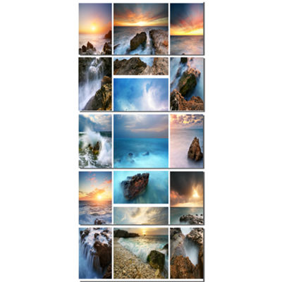 Designart Sea and Shore Collage Seascape Photography CanvasArt Print - 4 Panels