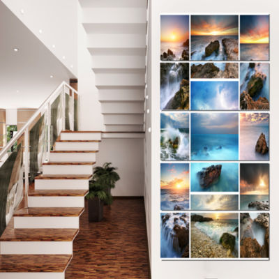 Designart Sea and Shore Collage Seascape Photography CanvasArt Print - 5 Panels