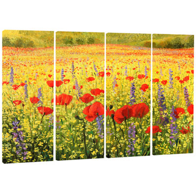 Designart Sea of Blossom Landscape Canvas Art Print - 4 Panels