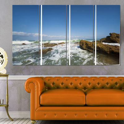 Sea with White Waves Seascape Canvas Art Print - 4Panels