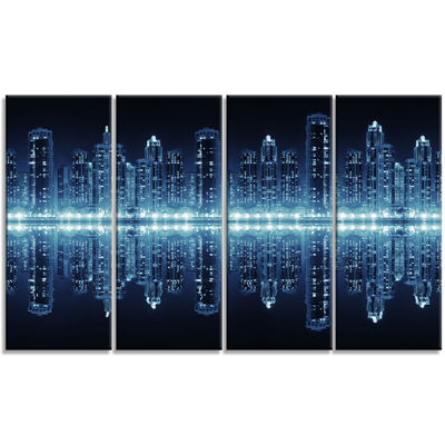 Designart Seamless Modern City Cityscape Photo Canvas Print- 4 Panels